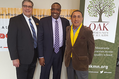 L to R: Barry Lieske, DeLaSalle; George Parker, special guest speaker and Rick Aguilar.